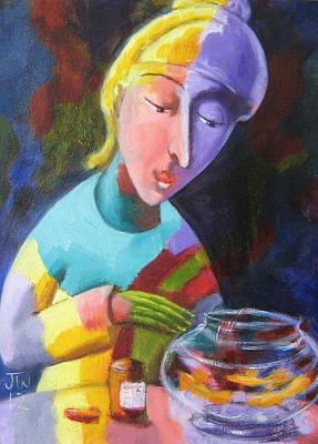 Painting - Feeding Fish by June Walker