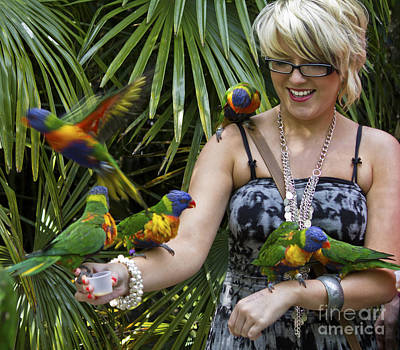Photograph - Feeding Rainbow Lorikeets by Clare Bambers