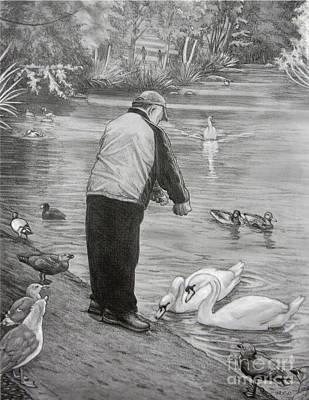 Feeding The Birds Art Print by Kim Hunter