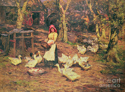 Ducks Painting - Feeding The Ducks by Joseph Harold Swanwick