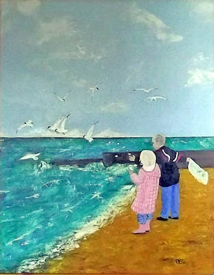 Feeding The Gulls Art Print by Peter Edward Green