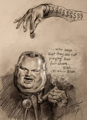 Cigars Drawing - Feeding The Talking Heads Like Rush Limbaugh And Co by Ylli Haruni