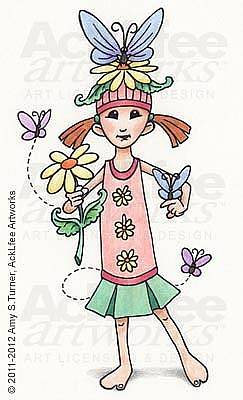 Acklfee Drawing - Feenie - Butterfly Girl by Amy S Turner