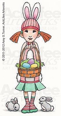 Acklfee Drawing - Feenie - Easter Bunnies by Amy S Turner