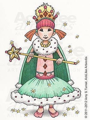 Acklfee Drawing - Feenie - Princess Sparkle by Amy S Turner