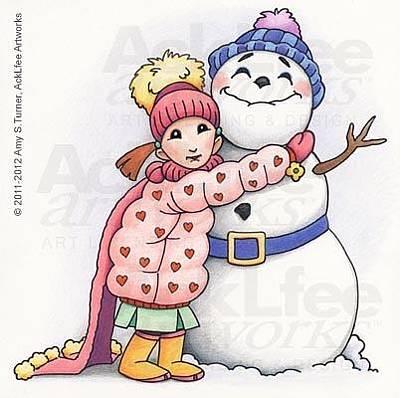 Acklfee Drawing - Feenie - Snowyman Hugs by Amy S Turner