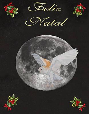 Portuguese Mixed Media - Felix Natal Barn Owl Portuguese Merry Christmas by Eric Kempson