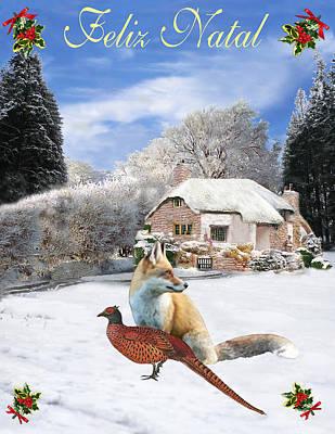 Eftalou Mixed Media - Felix Natal Portuguese Christmas Fox And Pheasant by Eric Kempson