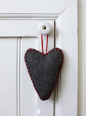 Banquet Photograph - Felt Heart Shape Decoration Hanging On Handle by Bjurling, Hans