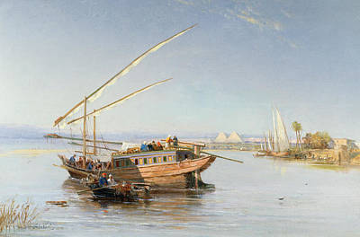 Sailing On Ocean Wall Art - Painting - Feluccas On The Nile by John Jnr Varley