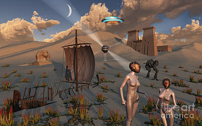 Archaeology Digital Art - Female Explorers Study Ancient Egyptian by Mark Stevenson