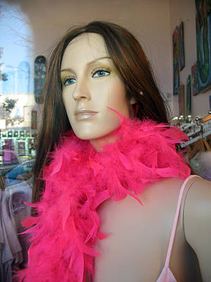 Boa Photograph - Female Face Mannequin Art Pink Feathers by Kathy Fornal