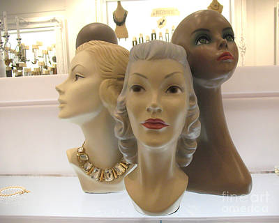 Photograph - Female Mannequin Faces Art Deco by Kathy Fornal