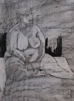 Drawing - Female Nude Seated by Joanne Claxton