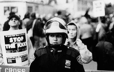 Photograph - Female Riot Cop by Joey Huertas