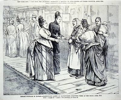 Female Suffrage In Kansas. Ladies Art Print by Everett