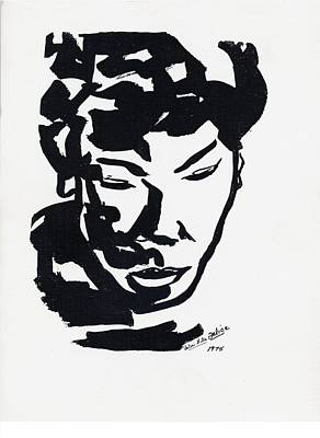 Calligraphic Drawing - Femaleface by Valerie Felice