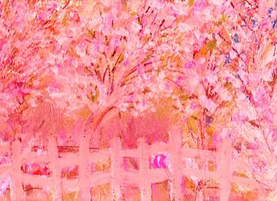 Fence And Trees On Another Day Art Print by Anne-Elizabeth Whiteway