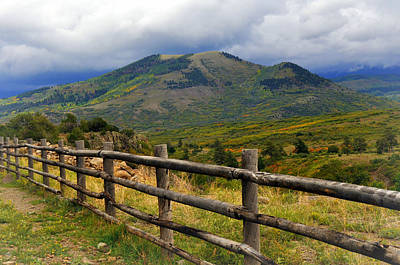 Fence Row And Mountains Print by Marty Koch