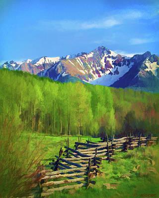 Fenceline Mountains Art Print