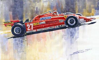 Sport Painting - Ferrari 126 Ck Gilles Villeneueve Spanish Gp 1981 by Yuriy  Shevchuk