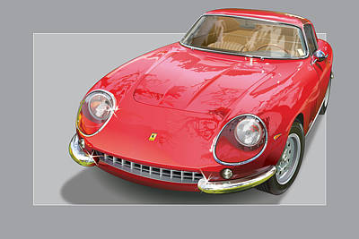 Prancing Digital Art - Ferrari 275 Gtb 4 by Alain Jamar