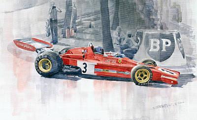 Automobile Painting - Ferrari 312 B3 Monaco Gp 1973 Jacky Ickx by Yuriy  Shevchuk
