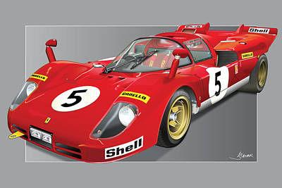 Andretti Digital Art - Ferrari 512  S by Alain Jamar