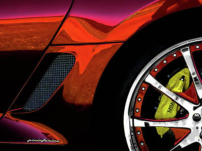 Chrome Digital Art - Ferrari Wheel Detail by Douglas Pittman