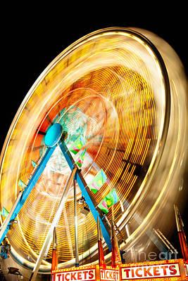 Ferris Wheel At Night Print by Paul Velgos