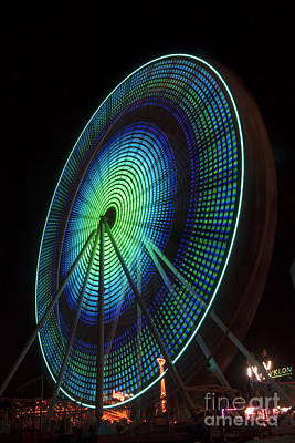 Ferris Wheel Lit Shades Of Green And Blue Art Print