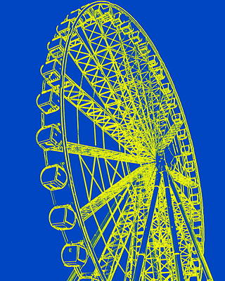 Photograph - Ferris Wheel Silhouette Blue Yellow by Ramona Johnston