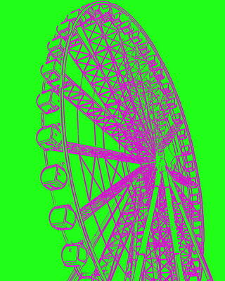 Photograph - Ferris Wheel Silhouette Green Purple by Ramona Johnston