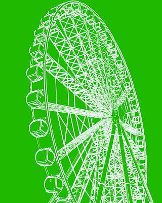 Photograph - Ferris Wheel Silhouette Green White by Ramona Johnston