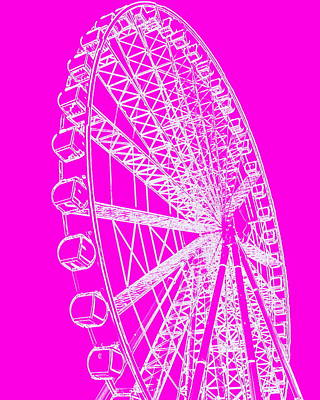 Photograph - Ferris Wheel Silhouette Pink White by Ramona Johnston
