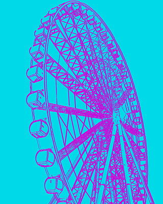 Photograph - Ferris Wheel Silhouette Purple Turquoise by Ramona Johnston