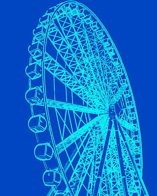 Photograph - Ferris Wheel Silhouette Turquoise Blue by Ramona Johnston