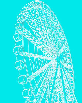 Photograph - Ferris Wheel Silhouette Turquoise White by Ramona Johnston
