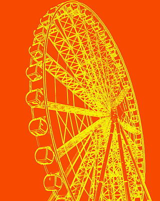 Photograph - Ferris Wheel Silhouette Yellow Orange by Ramona Johnston