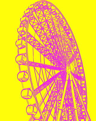 Photograph - Ferris Wheel Silhouette Yellow Pink by Ramona Johnston