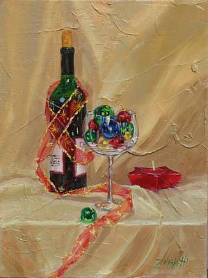 Wine Bottle Painting - Festive by Laura Lee Zanghetti