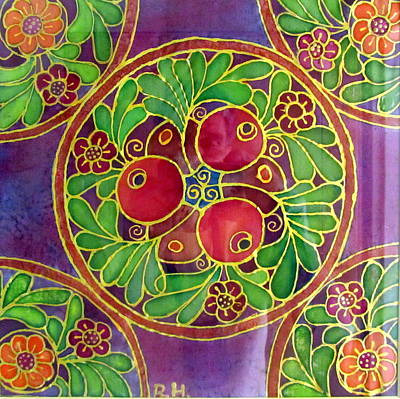 Painting - Festive Pomegranates In Gold And Vivid Colors Wall Decor In Red Green Purple Branch Leaves Flowers by Rachel Hershkovitz