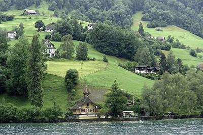 Few Houses On The Slope Of Mountain Next To Lake Lucerne Art Print by Ashish Agarwal