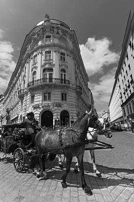 Fiaker Photograph - Fiaker Michaelerplaz Vienna by Dawn  Black