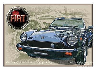 Digital Art - Fiat Spyder by Kenneth De Tore