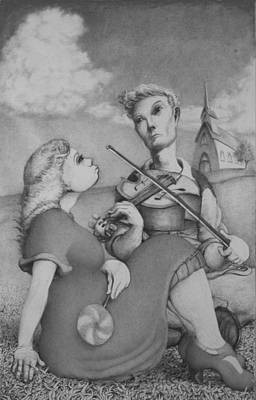 Drawing - Fiddle by Louis Gleason