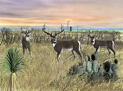 Digital Art - Field Deer by Walter Colvin