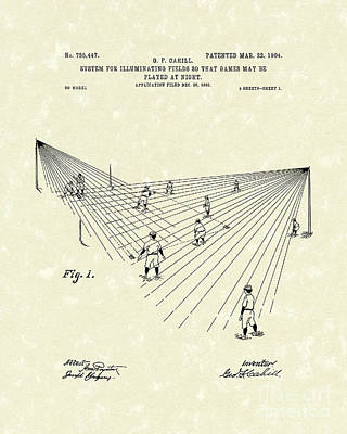 Baseball Art Drawing - Field Lighting 1904 Patent Art by Prior Art Design
