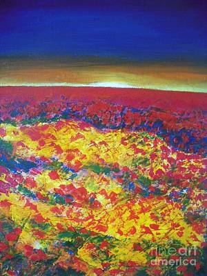 Poppies Field Painting - Wild Poppy Field by Vesna Antic