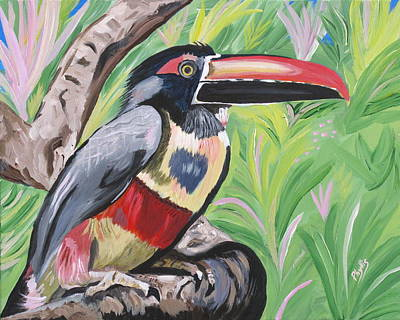 Painting - Fiery Billed Aracari Based On A Painting By Larry Linton by Phyllis Kaltenbach